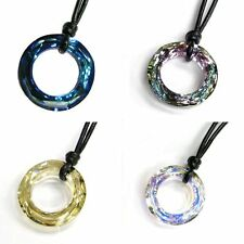 Ring Pendant Leather Necklace Adjustable made with Swarovski Elements Crystal