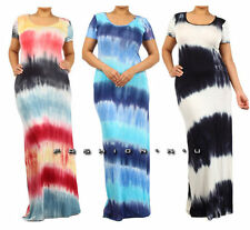 PLUS TIE DYE MULTI-COLOR STRIPED SUMMER LONG MAXI DRESS RAYON JERSEY