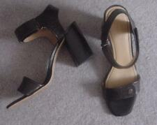 NEW Black-- Brown Leather NINE WEST $89 High Heel Sandals  Shoes 10-11-FREE Ship