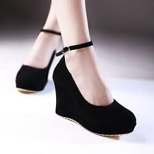 Women Round Toe Faux Suede Platform High Heel Ankle Strap Wedge Shoes