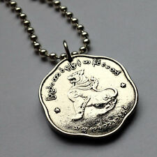 Myanmar Burma 25 pyas coin pendant necklace jewelry Lion Chinze Burmese n000066