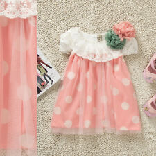 New Baby Girls Polka Dot Party Dress Pageant Pink Green Dress With Flowers