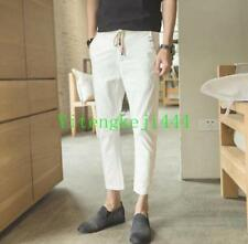 Mens Trendy linen blend pencil pants cropped breathable slim fit trousers shorts