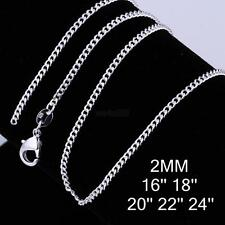 """Vogue Wholesale lots 925 Silver Plated 2MM Rolo Curb Chain Necklace 16""""-24"""" New"""
