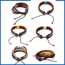 6 CHIOCES Mens Woven Hemp Surfer Tribal Leather Bracelet Wristband Cuff Jewelry