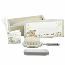 Personalised Button Corner Brush & Comb Christening Baby Gift Set Engraved