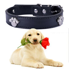 Black Leather Dog Collar Paws Accessories For Collar Necklace Small Pet Products