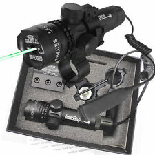 Green Red Dot Laser Sight Rifle Gun Scope w/ Rail & Barrel Mount Pressure Switch