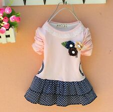 New Baby Girls Dress Pink White Yellow Long Sleeve Polka Dot Dress With Flowers