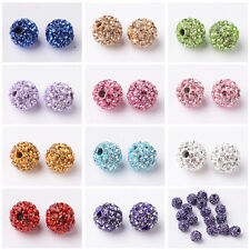 2PC Jewelry DIY Round Polymer Clay Czech Rhinestone Pave Disco Ball Beads 8mm