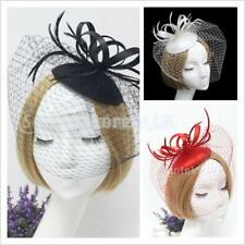 Flower Feather Hair Clip Fascinator Hat Ladies Girls Wedding Bidal Veil Mesh Net