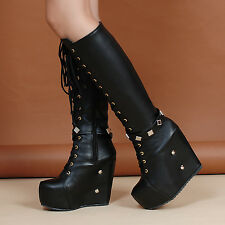 Womens Punk Rivet Roma shoes wedge heel platform gothic zip knee high boots Shoe