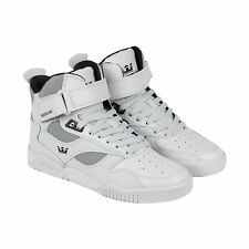 Supra Bleeker Mens White Leather High Top Lace Up Sneakers Shoes