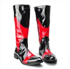 Mens PU Leather Side Zip Knee High Boot Punk Pointy Toe Motorcycle Cool Shoes