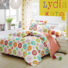King Queen Full Twin Size Bed Quilt/Duvet Cover Set Linen New Cotton Cozy Floral