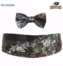 NEW Mens Mossy Oak Cummerbund Bow Tie Camo Tuxedo Hankie Formal Wedding Set