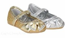New Baby Toddler Girls Silver Gold Glitter Dress Shoes Flats Mary Jane Kids