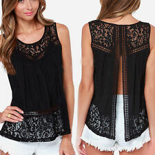 Vogue Women Sleeveless Lace Cardigan Vest Tops Blouse Casual T-Shirts S-2XL Gift