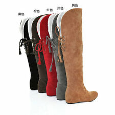 Womens Hidden Wedge Heel Snow Warm Winter Lace Up Knee High Boots Shoes Big Size