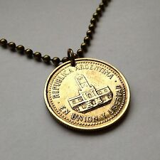 Argentina 25 centavos coin pendant charm necklace Buenos Aires City Hall