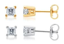 Solid 14k White or Yellow Gold Princess Diamond Solitaire Studs Earrings 1/2 ct