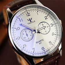 New Men's Fashion Casual Sport Analog Quartz watch PU Leather Wrist Watch