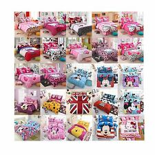 New Hello Kitty Cotton Bedding Set 4pc, Quilt Cover Sheet & Pillowcase Sheets