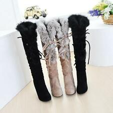 Womens lady winter Rabbit Fur high heel lace up faux suede knee high boots pumps
