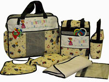 Baby Boy Girl Unisex 7 Piece Diaper Bag Set - Large & Small Bags + 2 Key Rattles