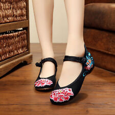 Ethnic Chinese Style Casual Comfort Shallow Chrysanthemum Buckle Single shoes C