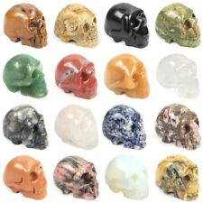 "1.5"" carved human skull skeleton statue gemstone carving crystal healing"
