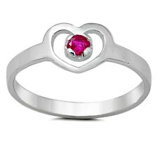 Sterling Silver Ring CZ Kids Heart Baby Red Ruby Midi Ladies size 1-5 New x48