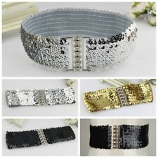 Women Fashion Rivet Sequins Elastic Stretch Wide Waist Belt Buckle Waistband Hot