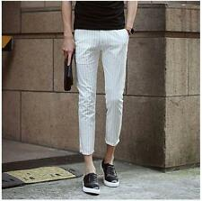 Fashion Mens summer slim fit strips print pencil cropped pants casual trousers