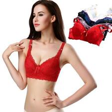 Women Push Up Deep V Ultrathin Underwire Padded Lace Brassiere Bra 34-44 Cup C