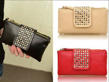 6928 New Fashion Women's PU Leather Rivet Clutch Purse Wallet Evening Bag gift