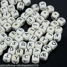Wholesale Market Wood Spacer Beads Cube Letters Print Mixed White 8x8mm