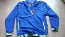 IJP DESIGN, IAN POULTER WINDSTOPPER 1/4 ZIP IN BLUE WITH YELLOW TRIM SIZE LARGE