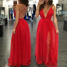 Sexy Womens Long V-Neck Chiffon Evening Party Formal Bridesmaid Prom Gown Dress