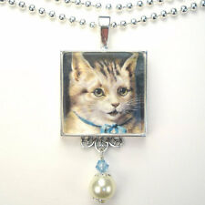 CAT KITTEN WITH BLUE BOW 'VINTAGE CHARM' SILVER OR BRONZE ART PENDANT NECKLACE