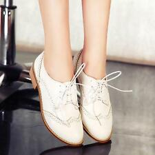 New Womens oxford brogue wing tip carving lace up casual shoes school girls size