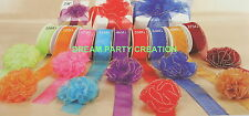 "1.5"" Organza RUFFLED Bow with GOLD Trim 25 Yards  CHOOSE From 9 BRIGHT COLORS"