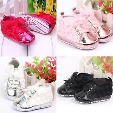 Baby Girl Princess Sneaker Kids Toddler Soft Sole Rose Lace Up Crib Shoes 0-18M