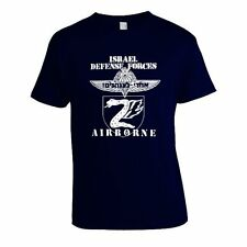 Israel IDF Army Tzanhanim Airborne Paratroopers White Print on Navy T-Shirt