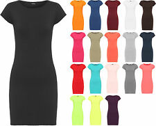 New Womens Plain Bodycon Short Sleeve Long Top Ladies Stretch Mini Dress