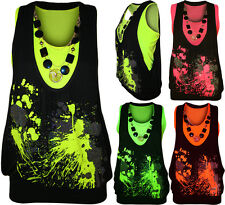 New Womens Neon Necklace Glitter Print Ladies Sleeveless Fluorescent Top