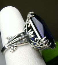 13ct *Sapphire* Sterling Silver 925 Floral Love Leaf Filigree Ring Size: Any/MTO