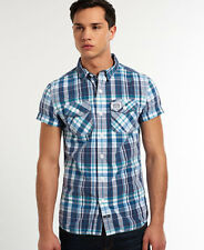 New Mens Superdry Washbasket Shirt Topanga Blue Check