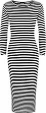 Womens Ribbed Monochrome Stripe Print 3/4 Sleeve Stretch Ladies Long Midi Dress