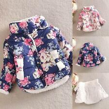 Kid Girl Floral Printed Winter Warm Jacket Long Sleeve Thick Coat Outerwear 2-6T